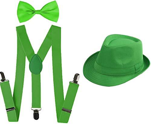 Juego 3 de Tirantes Elsticos Pajaritas Ajustables y Sombrero de Copa para Nios Adultos Fiesta Carnaval (Verde, Pack nio/sombrero 52cm)