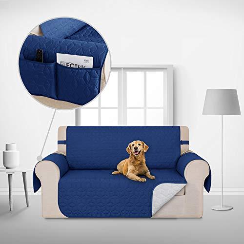 Deconovo Copridivano 2 Posti Trapuntato con Tasche Telo Copri Divano Antiscivolo Protegge Il Mobile per Cani/Gatti Letto Blu