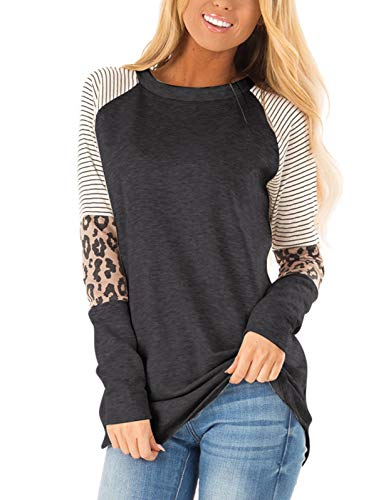 Adibosy Women Long Sleeve Tunic Blouse Round Neck Leopard Print Color Block Stripe Casual T Shirt Tops Black M