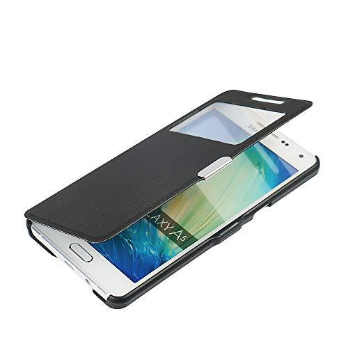 MTRONX para Funda Samsung Galaxy A5 (2015), Cover Carcasa Caso Ventana Vista Folio Flip Tela Asargada PU Cuero Delgado Piel con Cierre Magnetico para Samsung Galaxy A5 (2015) - Negro(MG1-BK)
