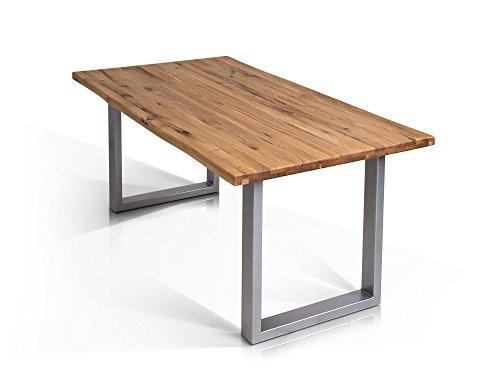 moebel-eins Tobago Baumkantentisch Esstisch Wildeiche Holztisch Massivholztisch Esszimmertisch Tisch Baumkante Säulenfuß Metallfuß Edelstahlfarbig lackiert 200 x 100 cm, 200 x 100 cm, alufarbig