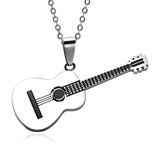 Collares Colgante Joyas Popular Música Creativa Colgante De Guitarra Hombres Hip-Hop Rock Accesorios De Moda Banquete De Moda Joyería C_45Cm