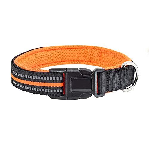 GBY Huisdierhalsband, polyester, reflecterende hondenhalsband, verstelbare, lichtgevende halsband, geschikt voor middelgrote en grote honden, oranje, Medium, Kleur: