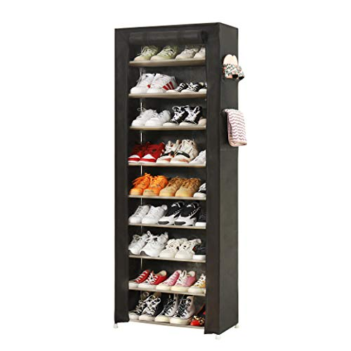 PENGKE Large Shoe Rack Shoe Storage Organizer Cabinet Tower with Dustproof Cover Closet Shoe Cabinet Tower,9 Tiers Black