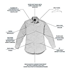 Savile Row Men's Formal Dress Shirt - Long Sleeve Classic Fit Plain Poplin , White, 15.5 inch Collar Double Cuff Standard #5