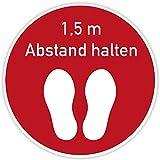 (Rot) Fussbodenaufkleber 400x400 mm - Abstand halten - Rutschhemmung R10 (nach DIN 51130) Bodenaufkleber Anti-Rutsch