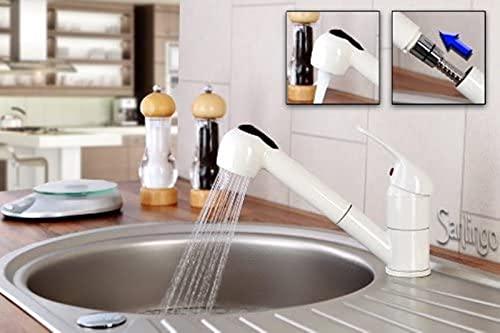 Qianglin Mezclador de Fregadero de Cocina Blanco Crema con Spray extraíble de