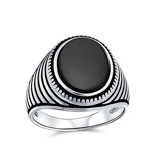 Stile retrò scanalato striscia incisa banda nero onice quadrato signet anello per uomo pesante 925 sterling argento fatto a mano in Turchia