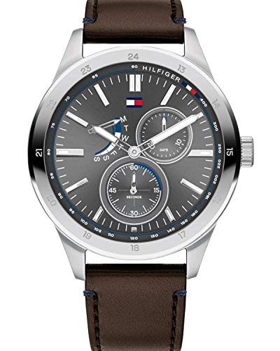 Tommy Hilfiger Herren Multi Dial Quartz Uhr mit Leder Armband 1791637