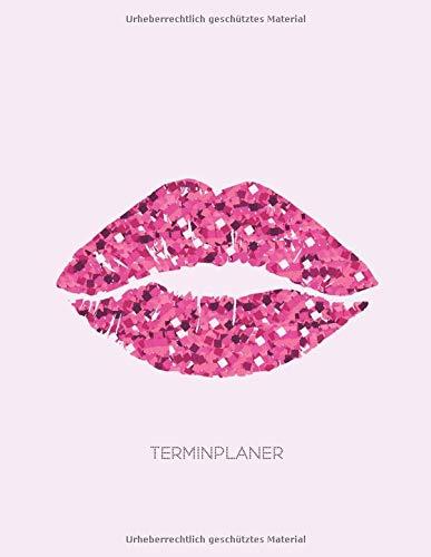 Terminplaner: Kosmetikstudio & Nagelstudio DATEN Kalender | 8AM - 8PM Friseur Salon Terminbuch | Mon - Son Beauty Tageskalender | Inkl. Kundenbuch | Glossy Pink