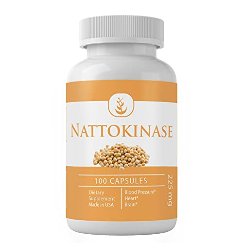 Nattokinase (100 Capsules) Blood Pressure, Heart & Brain Health, 100% Pure, No Additives or Fillers*