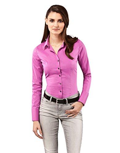 Vincenzo Boretti Damen Bluse besonders tailliert mit Stretch Langarm Hemdbluse elegant festlich Kent-Kragen auch für Business und unter Pullover violett 36