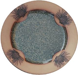 Pinecone Dinner Plate in Seamist Glaze