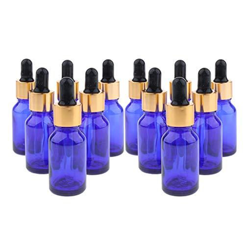 SDENSHI Lot de 12 Flacons à Pipette - en Verre Bleu Foncé - Contenance de 10 ML