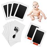 QUACOWW Baby Tintenloses Hand- und Fußabdruck-Set, 4 Packungen Mittelgroße Stempelkissen und 12 Stück Abdruckkarten Geeignet für Babys von 0–6 Monaten