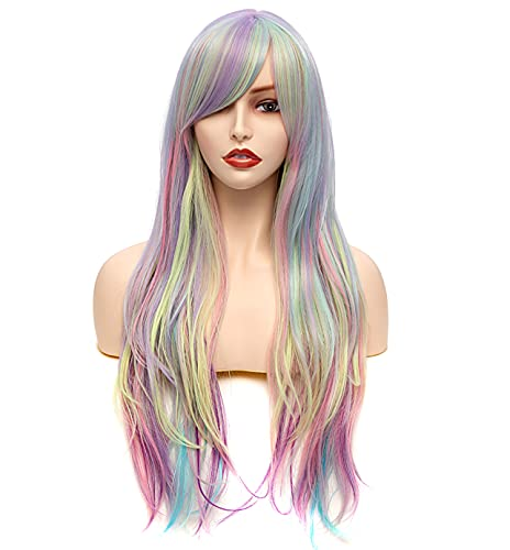 Rugelyss Rainbow Colorful Wigs for Women 26 Inches Long Wavy Fashion...