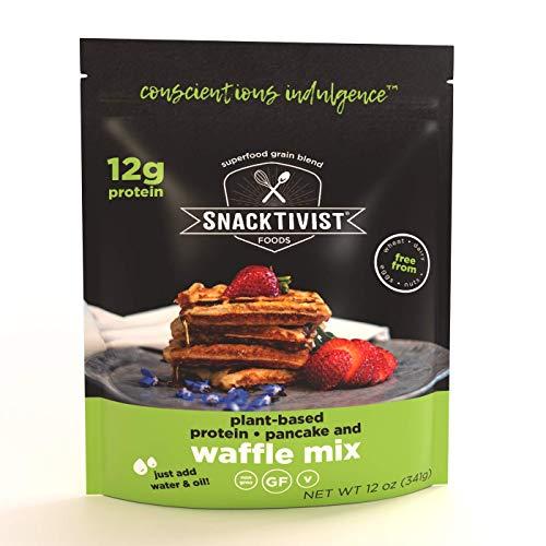 Snacktivist Foods - Plant Protein Waffle & Pancake Mix, Gluten-Free, Non-GMO, Vegan, 12 Ounce