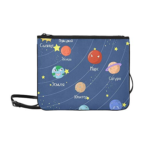 Juego educativo para niños Sistema ruso Sistema solar Personalizado Nylon de alto grado Bolsa de embrague delgado Bolso cruzado Bolso bandolera