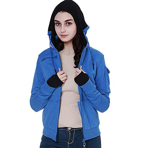BOMBAX Women Travel Jacket Hoodie 10 Pocket Flight Bomber Sweatshirt Coat+Pillow (Blue, Medium(Asian Size))