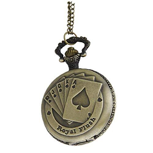 Nicedier Cuarzo analógico Reloj de Bolsillo de los Hombres 1pc de la Cadena Blanco Dial Negro Suministros de los números árabes de Steampunk Tarjetas del póker para el hogar Regalo
