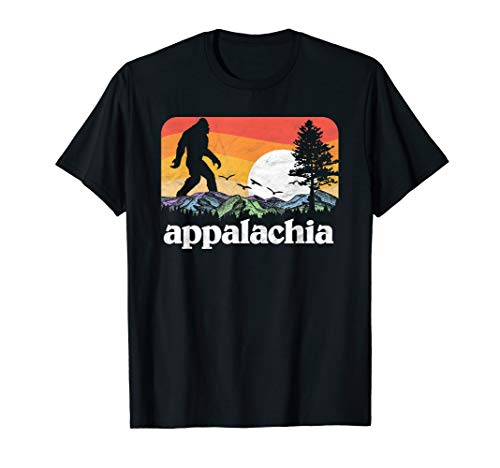 Retro Appalachia Bigfoot Mountain & Trees Nature Outdoors T-Shirt