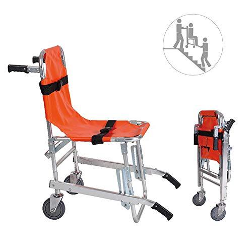 FEGER Treppen Stuhl, Treppensteigen Rollstuhl-Aluminium-Leichtgewicht 2 Räder Folding Medical Transport Stuhl mit Patient Restraint Träger, 350 lbs Kapazität