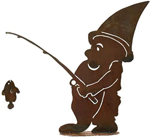 Freundlicher Angel-Zwerg aus Edelrost bei seinem Hobby- 43cm: Wunderschöne Dekoidee zu verwenden als Gartendekoration, Ihr Zuhause oder der Terrasse - Angelzwerg von Manufakt-Design