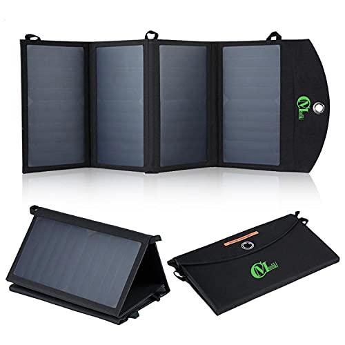 CMsoliki 25W Cargador Panel Solar con 2 USB Puertos (5V/4A MAX Total) SunPower Solar Panel Plegable para iPhone, iPad Mini, Galaxy, Huawei, Xiaomi, Tablets y Otros Dispositivos Digitales