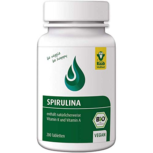 Raab Vitalfood Bio Spirulina-Tabletten, 200 Stück, vegan, laborgeprüft, glutenfrei, mit Vitamin A und Vitamin K, ohne Zusätze, Mikro-Algen, 80 g