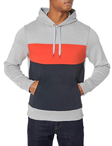 Amazon Essentials Fleece Pullover Hooded Fashion-Sweatshirts, Grau meliert/Orange/Marineblau, US XXL (EU XXXL-4XL)