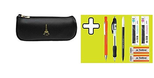 The Eiffel Tower Pencil Case Black + Sharp Pen + Ballpoint Pen + Pen + Mechanical Pencil Refill 2 + Eraser 2 Set, Pencil Holder Stationery Pouch Bag