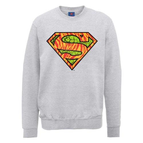 DC Comic DC0001036 Official Superman Wild Logo Sweat-Shirt, Gris - Gris, XX-Large Homme