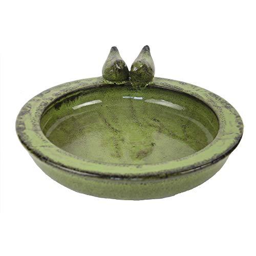 Esschert Design, Baignoire Ronde en céramique pour Oiseaux Vert