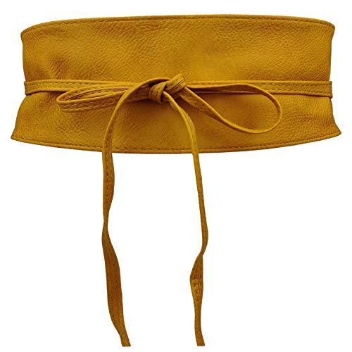 Colkor Cinturón obi para mujer cuero sintético ancho 10cm Talla única-mostaza
