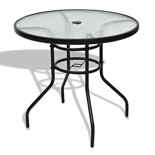 Blessing2220 Patio Bistro Table 32' Tempered Glass Steel Frame Outdoor Dining Table with Umbrella Hole for Garden Pool Side Deck Lawn (Round)