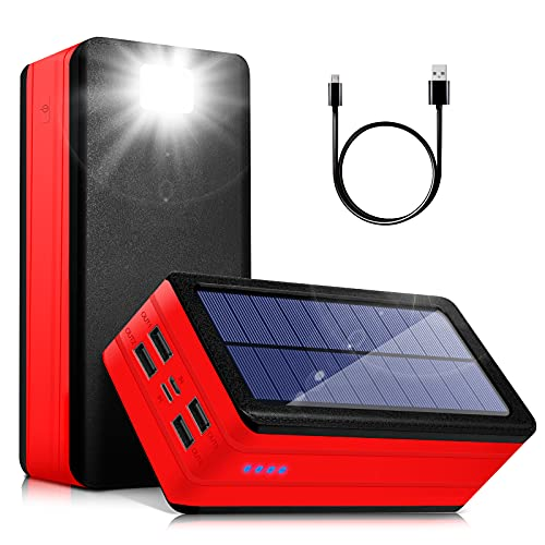 Solar Power Bank 50000mAh, Portable Solar Phone Charger with Flashlight, 4 Output Ports, 2 Input Ports,Waterproof, Compatible with Smartphone, Tablet, for Camping, Hiking, Trips and Home Emergencies