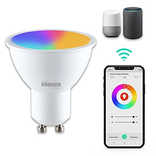 Bombilla LED Inteligente WiFi GU10 PRENDELUZ Lámpara dicroica, Luces Cálidas/Frías & RGB Funciona en Alexa (Echo, Echo Dot) Google Home casquillo GU10