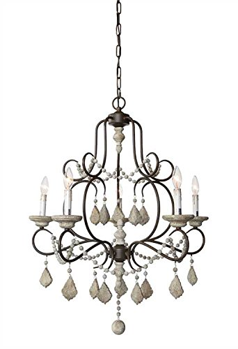 5 Lights Iron Frame Wood Beads Chandelier French Chateau Country