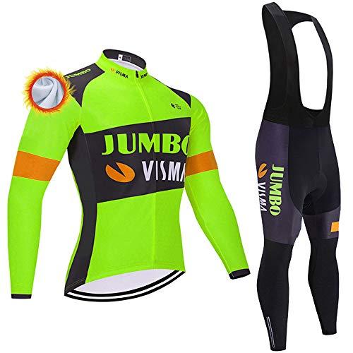 Abbigliamento Ciclismo Set Uomini Termica Confortevole Maglia Ciclismo Invernale con Pantaloni Imbottiti in Gel Set Abbigliamento da Ciclismo per MTB Completo Ciclismo Invernale Team