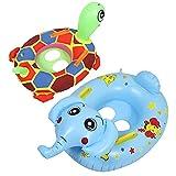 HUSHUI Flotador de Anillo de natación para bebé, 2 Piezas de Anillo de natación Inflable para bebé con patrón de Tortuga y Elefante Anillo de natación para bebé con Asiento de natación