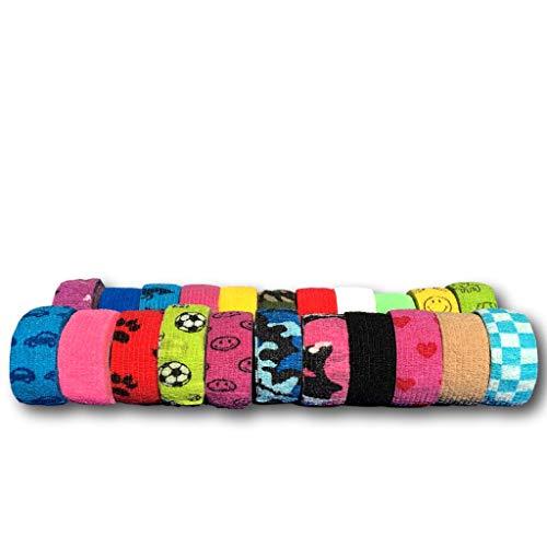 Pflasterverband, Wundpflaster, Kinderpflaster, Tierpflaster, elastisch & ohne Kleber, 2,5cm breit (5er Packung, Gemischt)
