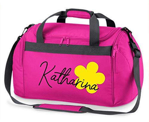 Sporttasche Mädchen mit Namen | Motiv Blume & Namensdruck personalisiert & Bedruckt | Reisetasche Kindersporttasche mit Namen Kindertasche Tragetasche zum Umhängen für Kinder