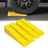 VaygWay Leveling Ramp Car RV – Camper Trailer Leveler Wheel Chock – Stabilizing Uneven Ground and Parking – 2 Pk Yellow Auto Blocks