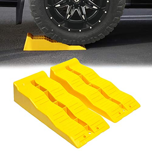 VaygWay Leveling Ramp Car RV – Camper Trailer Leveler Wheel Chock – Stabilizing Uneven Ground and Parking – 2 Pk Yellow Auto Blocks