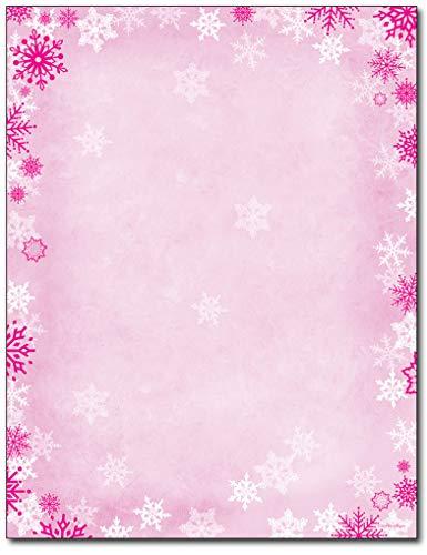 ピンクの雪の結晶ホイル製文房具 - 80枚 - クリスマス、新年、冬の祝日に。