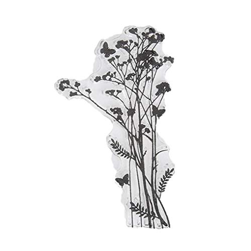 Flor de hierba claro Sellos Hoja de sello de silicona transparente para DIY Tarjeta de Scrapbooking del arte del álbum de fotos de la decoración