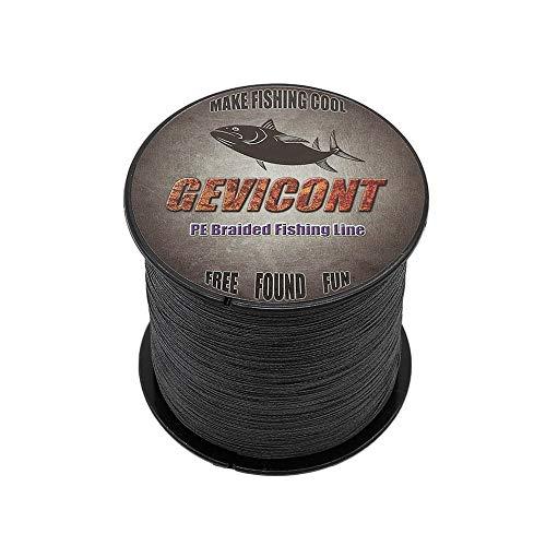 GEVICONT – Ligne de pêche tressée en PE à 4 brins , Fil de pêche multi-filament pour pêche à la carpe, pour toutes les pêches, 100 m, 4,5 kg - 45,3 kg, Noir , 109Yds(100m)-100lb(45.4kg)-0.55mm