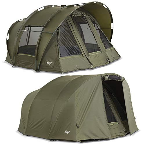 Lucx® Leopard Bivvy + Winterskin 2-3 Mann Angelzelt + Überwurf 2 bis 3 Personen Karpfenzelt + Overwrap Angler Zelt Carp Dome + Skin Campingzelt