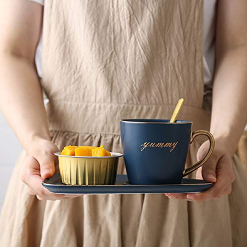 HRDZ Taza Cafetería del Hotel Cerámica nórdica Juego de Taza y Plato de café Desayuno Postre Tarde té vajilla Bandeja Restaurante Creativo Estilo Europeo Pequeño B 260ml