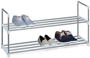 Relaxdays Meuble à chaussures en métal HxlxP: 45 x 90 x 30 cm rangement pour chaussures avec 2 étages pour 8 paires, gris